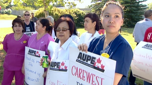 Nursing staff at Calgary's Carewest seniors facilities held a series of rallies in September to back up their efforts to secure a collective agreement.
