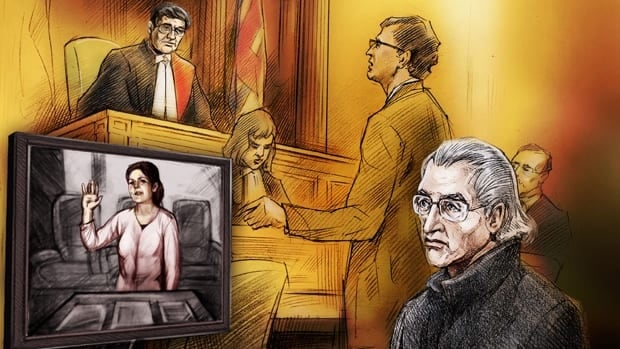 A courtoom sketch shows the accused, John Palumbo of Ottawa, watching testimony from country-pop superstar Shania Twain. Palumbo is accused of stalking Twain and interrupted her testimony Thursday to announce he would plead guilty.