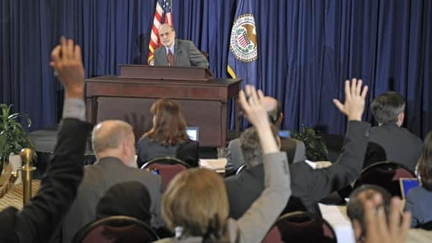 Federal Reserve chair Ben Bernanke holds his first ever news conference at the Federal Reserve in Washington on Wednesday.