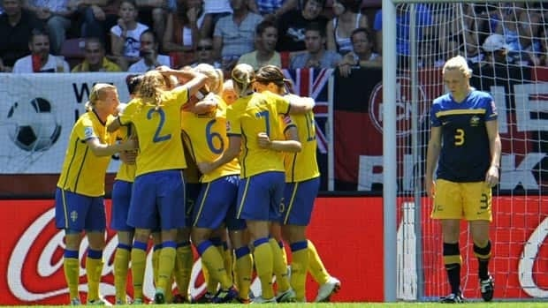 Sweden players celebrate their second goal against Australia on Sunday.