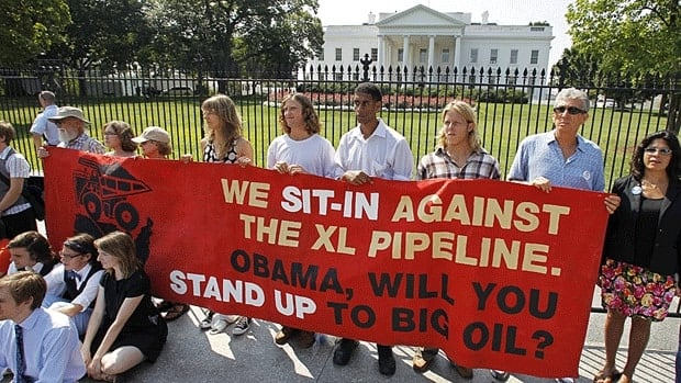 Protestors over a proposed pipeline to bring tar sands oil from Alberta to a refinery in Texas.