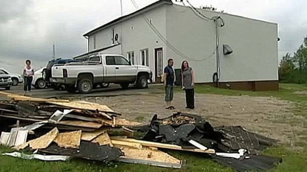 A tornado ripped the roof from this building in Sainte-Elisabeth-de-Proulx, about 250 kilometres north of Quebec City.