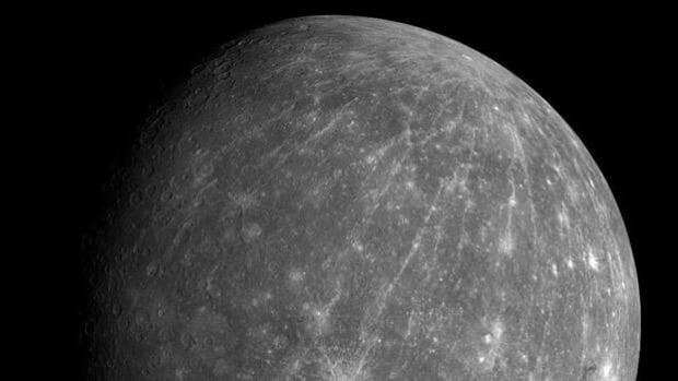 Mercury as captured by NASA's Messenger spacecraft on the probe's second approach to the planet on Oct. 6, 2008. Next Thursday, for the first time, Messenger will enter into Mercury's orbit.