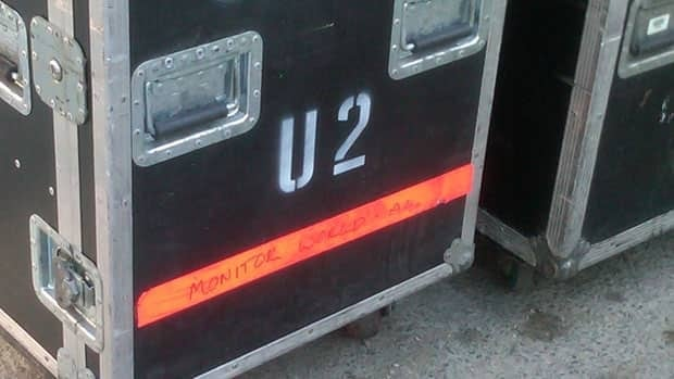 Crates marked with U2 and World Tour are unloaded at the Burton Cummings Theatre in downtown Winnipeg on Thursday.
