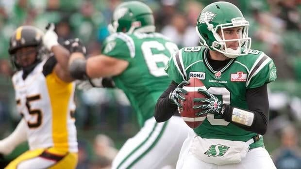 Saskatchewan Roughriders quarterback Ryan Dinwiddie looks to make a pass during first half of their game against the Hamilton Tiger-Cats on Saturday. The Roughriders won 19-3.