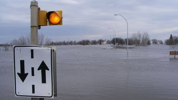 The bridge into the town of Morris was impassable due to flood waters in April 2009.
