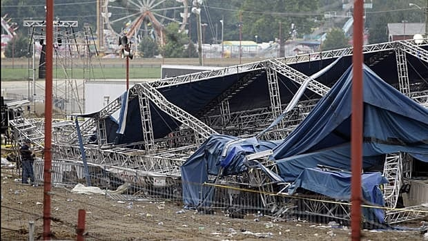 Authorities covered part of the collapsed rigging and stage with a tarpaulin as they surveyed the site at the Indiana State Fair in Indianapolis on Sunday