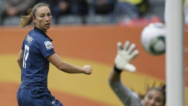 French forward Gaetane Thiney, left, is one player Sweden will have to keep close tabs on.