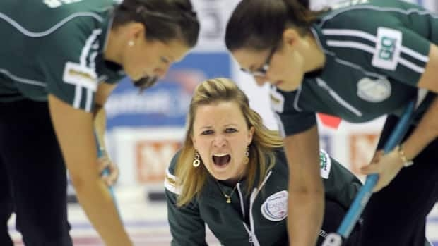 Manitoba skip Chelsea Carey, centre, earned a spot in the Canada Cup final with a win over Jennifer Jones on Friday.
