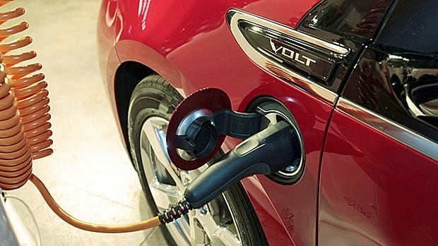 A Chevrolet Volt electric vehicle is shown charging. GM launched the car in Canada on Thursday.