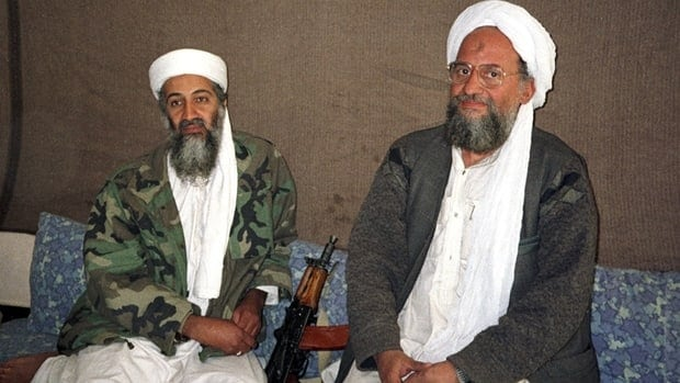 Osama bin Laden (left) sits with his adviser and eventual successor Ayman al-Zawahri in a 2001 file photo.