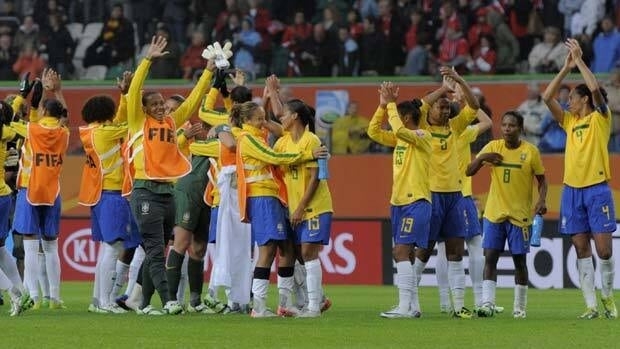 Team Brazil celebrates after beating Norway 3-0 on Sunday in Women's World Cup action.