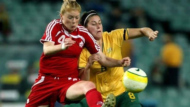 Clare Rustad, left, scored three goals in 45 appearances for Canada before retiring in 2008.