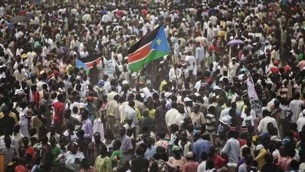 People gather during independence celebrations in Juba, South Sudan, on Saturday.