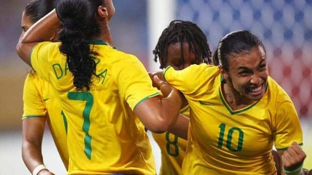 Brazil's Marta, far right, is the reigning five-time FIFA World Player of the Year.