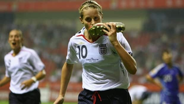 Kelly Smith of England celebrates in grand fashion after scoring against Japan at the 2007 FIFA Women's World Cup.
