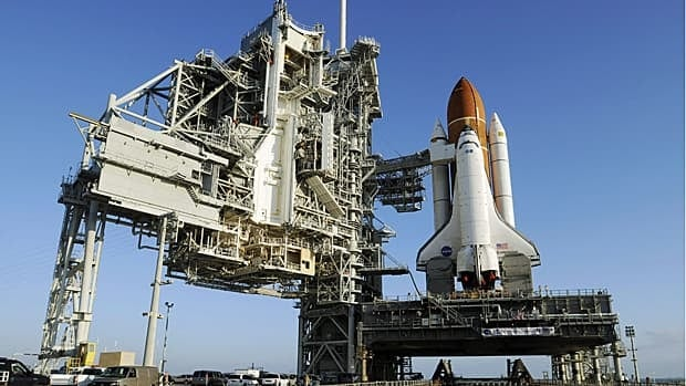 The space shuttle Endeavour sits on launch pad 39A at the Kennedy Space Centre in Florida on March 11, 2011.