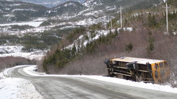 The driver of this bus lost control on a notoriously treacherous patch of highway in southern Newfoundland.