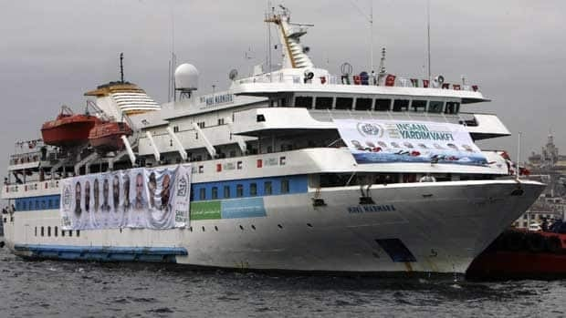 Nine people were killed after Israeli soldiers boarded the Mavi Marmara ship in May 2010. Canadians are set to board another flotilla this summer. Burhan Ozbilici/Associated Press