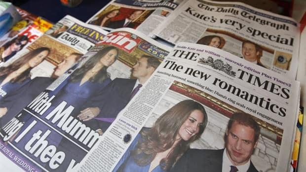U.K. newspapers displayed at a news stand, in London on Nov. 17, 2010, the day after Prince William and Kate Middleton announced their engagement. Since then, coverage of the couple and the preparations for their April 29 wedding has been overwhelmingly positive and lacking some of the sass we've come to expect from the British press.