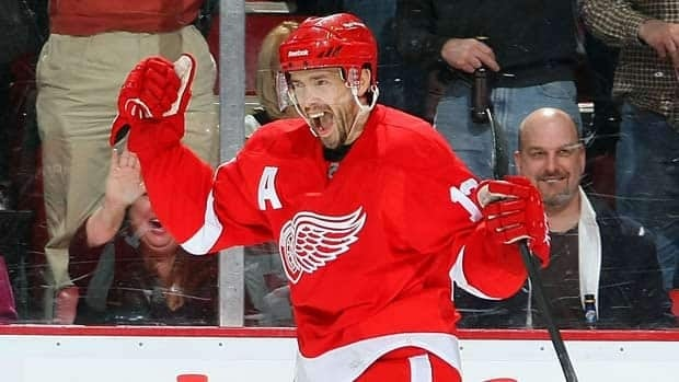 Detroit centre Pavel Datsyuk celebrates scoring in Game 1 against Phoenix.