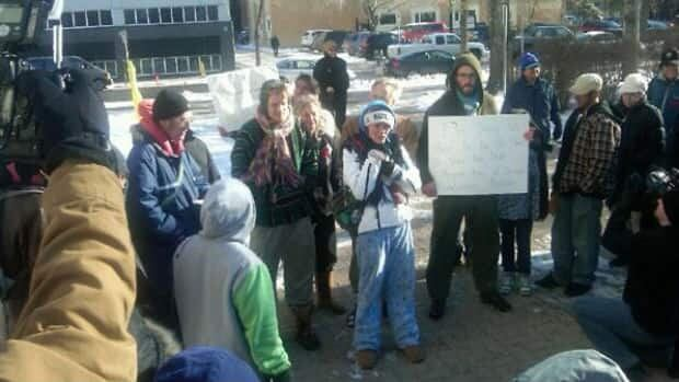 Members of the Occupy Regina movement protesting at City Hall on Wednesday.