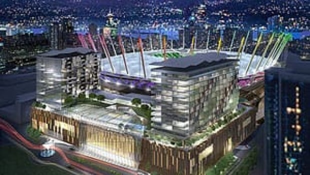 The proposed casino would include two hotels, restaurants, and shops, next to the refurbished BC Place.