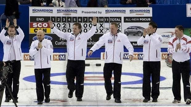 Canada skip Jeff Stoughton, left,  pictured here celebrating with his team after winning the gold medal win over Scotland at the Ford World Men's Curling Championships in April, will be part of the Canadian men's team competing in the upcoming Capital One Canada Cup.