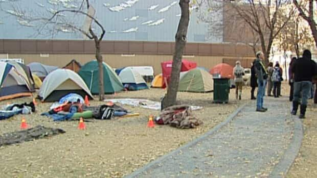Occupy Edmonton protesters first set up camp on this privately-owned downtown park on the weekend.