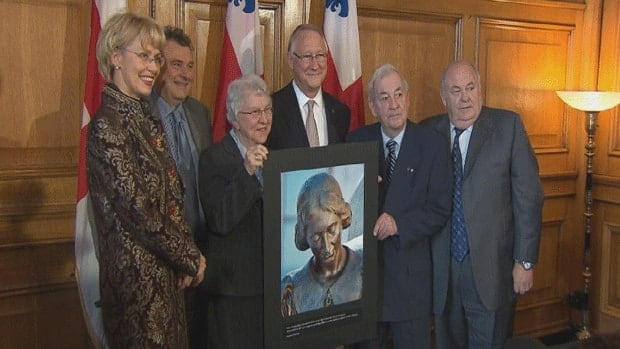 Montreal Mayor Gérald Tremblay and other city officials officially recognize Jeanne Mance as the co-founder of the city at city hall on Monday.