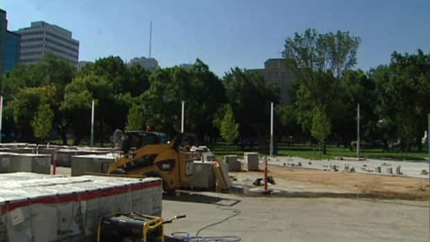 The project manager of Regina's new downtown plaza says the space should be ready in time for the Aug. 5 start of the Regina Folk Festival.