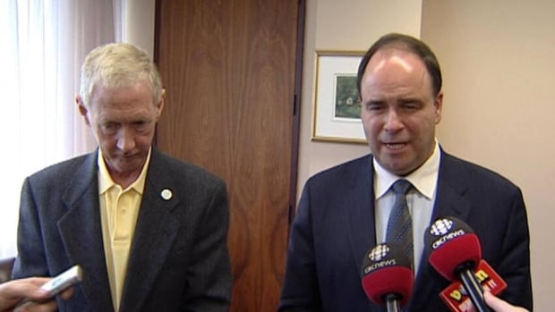 Liberal Leader Kevin Aylward and St. John's Mayor Dennis O'Keefe met with reporters Wednesday.