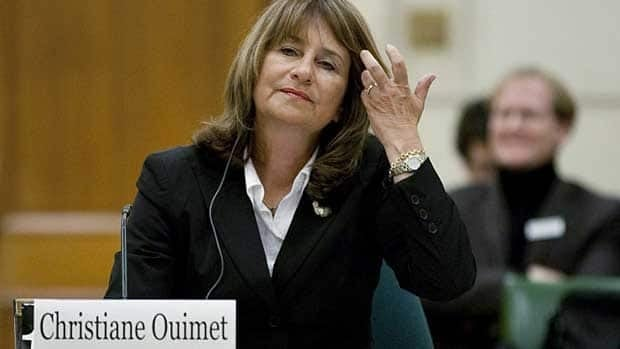 Former integrity commissioner Christiane Ouimet appears at a Commons committee March 10 in Ottawa, to address her troubled tenure. Ouimet resigned in October and received a $534,000 severance package. Sean Kilpatrick/Canadian Press