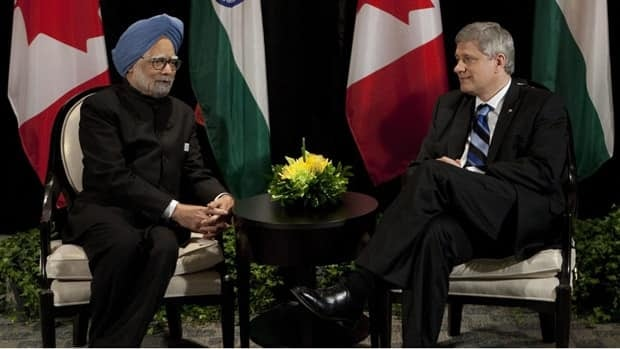 Prime Minister Stephen Harper and Indian Prime Minister Manmohan Singh announced a landmark nuclear deal in June 2010.