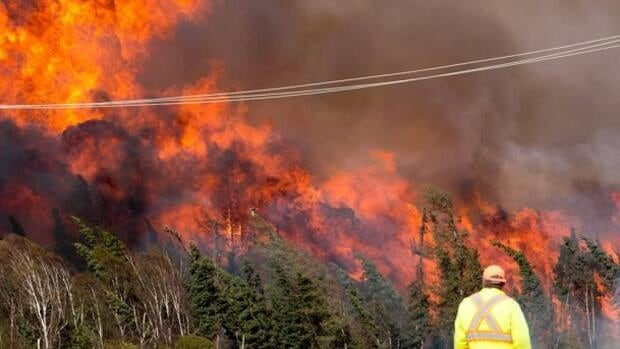 An official in Slave Lake, Alta., watches as the massive fire rages towards the town in May. The province has announced it's boosting funds for wildfire education and preparedness. (Submitted by Michael J. Leonard)