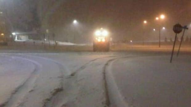 A snow plow at Mememorial University of Newfoundland, in St. John's, Thursday morning.