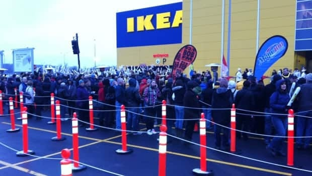 About 350 Ikea shoppers lined up outside the new store before its 9 a.m. opening.