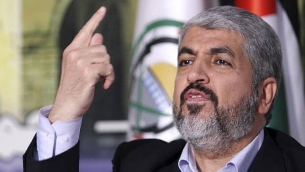In this photo released Tuesday, Oct.11, 2011, by the Hamas Media Office, Hamas leader Khaled Mashaal, talks during a presser on prisoner exchange deal between Israel and Hamas, in Damascus, Syria. Mohammed al-Hams, Hamas Media Office/Associated Press