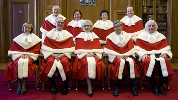 The Supreme Court of Canada currently consists of, front row, left to right, Justices Marie Deschamps, Ian Binnie, Chief Justice Beverley McLachlin, Louis LeBel and Morris Fish; back row, left to right, Marshall Rothstein, Rosalie Silberman Abella, Louise Charron and Thomas Cromwell.