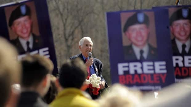 Daniel Ellsberg, the former military analyst who in 1971 leaked the Pentagon Papers, speaks to protesters gathered March 20, near Dumfries, Va., to support U.S. Army Pte. Bradley Manning.