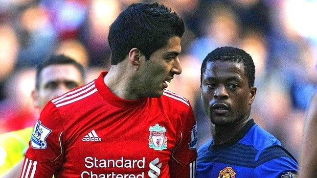 Luis Suarez, left, denies the allegations of racial abuse directed towards Patrice Evra, right, but officials have ruled otherwise.
