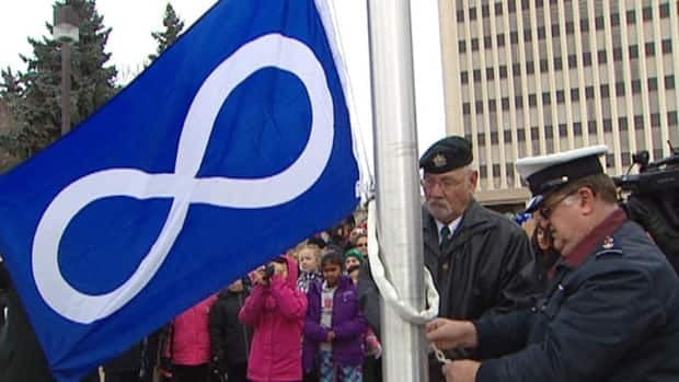 The Metis Nation flag was raised Tuesday at Regina city hall.