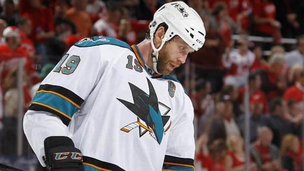 San Jose captain Joe Thornton has a minus-3 rating the past three games against the Detroit Red Wings.
