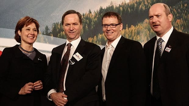 The B.C. Liberals' leadership candidates are, from the left, Christy Clark, George Abbott, Kevin Falcon and Mike de Jong. (Darryl Dyck/Canadian Press)