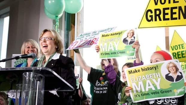 Green Party Leader Elizabeth May, seen launching her election campaign in B.C. in March, was snubbed by the other party chiefs and appeared alone in front of a panel of journalists Sunday night.