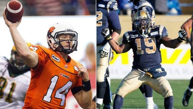 The B.C. Lions will rely heavy on the arm of quarterback Travis Lulay, left, while Bombers tailback Chris Garrett offers a true feel-good story for the 99th Grey Cup in Vancouver on Sunday.