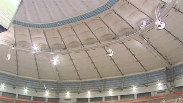 Water dripped onto the field at the 35-yard line the day before BC Place Stadium is set to host the 2011 Grey Cup football game.