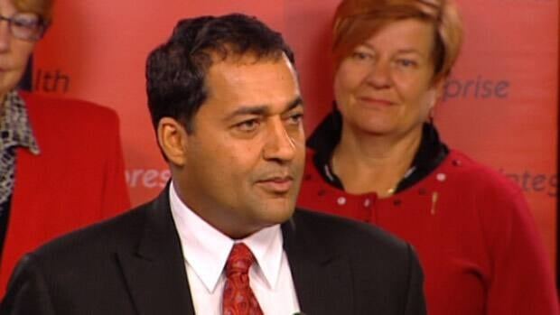 Raj Sherman held his first news conference as Alberta Liberal leader Monday while flanked by the eight members of caucus.