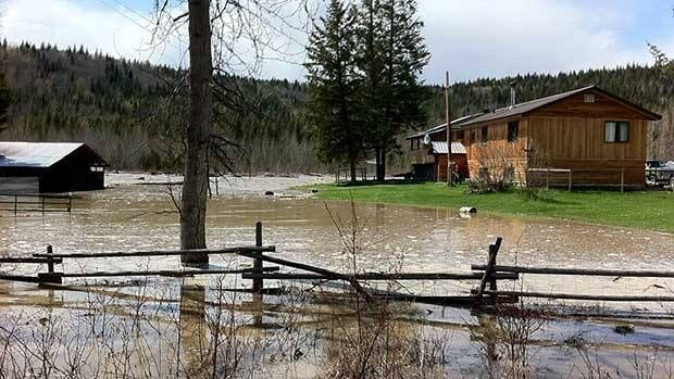 Tim Lynes property on the Cottonwood River, near Quesnel, B.C., was flooded on Thursday.