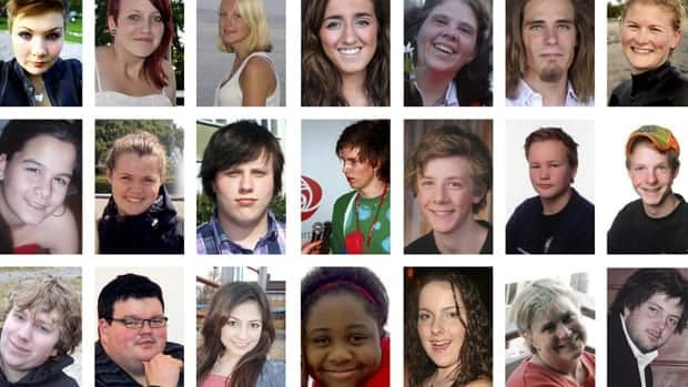 A combination photo shows 21 of the 76 victims killed in the July 22 bomb attack in central Oslo and shooting rampage in nearby Utoya island.